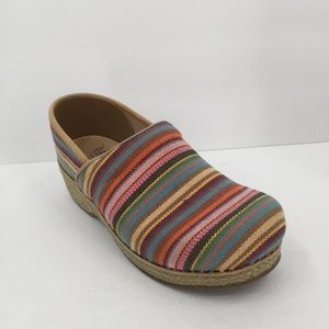 Dansko Vegan rainbow stripe jute clogs shoe 40 9